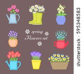 spring flowers set. bouquet of... | Shutterstock .eps vector #595348583