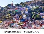 el pipila statue many colored... | Shutterstock . vector #595350773