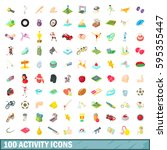 100 activity icons set in... | Shutterstock .eps vector #595355447