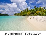 stunning view of a beach on one ... | Shutterstock . vector #595361807