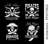 pirate skull symbol set. skull... | Shutterstock .eps vector #595372823