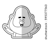 happy chubby man cartoon icon... | Shutterstock .eps vector #595377563