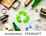 waste recycling symbol with... | Shutterstock . vector #595381877