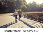 fitness  sport  friendship and... | Shutterstock . vector #595399517