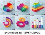 set of 3d paper infographic... | Shutterstock .eps vector #595408907