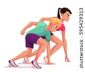 couple of sprinters ready to... | Shutterstock .eps vector #595429313