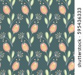 doodle seamless floral pattern. ... | Shutterstock .eps vector #595436333