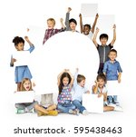 happiness group of cute and... | Shutterstock . vector #595438463