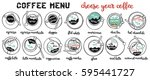 coffee menu. coffee set. latte  ... | Shutterstock .eps vector #595441727