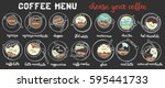 coffee menu. coffee set. latte  ... | Shutterstock .eps vector #595441733