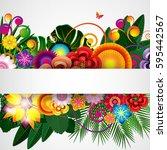 flowers spring design... | Shutterstock . vector #595442567