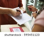 delivery messenger carrying... | Shutterstock . vector #595451123
