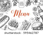 template of fast food menu... | Shutterstock .eps vector #595462787