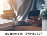 man using mobile smart phone... | Shutterstock . vector #595463927