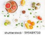 Colorful Fresh Fruit On White...