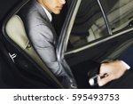 hand open car door businessman | Shutterstock . vector #595493753
