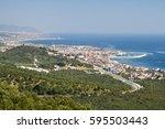 aegean sea and lesvos island... | Shutterstock . vector #595503443