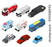 different cars set isometric... | Shutterstock .eps vector #595508993