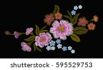 Stock vector delicate pink rose and buds on a black background vintage postcard old watercolor traditional 595529753