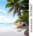 beautiful tropical  sand beach... | Shutterstock . vector #595536827