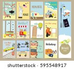 travel collection for banners... | Shutterstock .eps vector #595548917