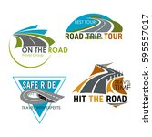 road travel icons set for tour... | Shutterstock .eps vector #595557017