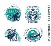 fishing trip vector icons of...   Shutterstock .eps vector #595559567