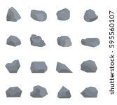 set of rock vector with style... | Shutterstock .eps vector #595560107