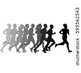 set of silhouettes. runners on... | Shutterstock .eps vector #595562543