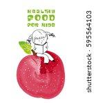healthy food for kids... | Shutterstock . vector #595564103