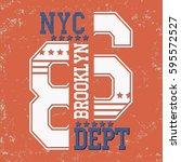 new york brooklyn typography... | Shutterstock .eps vector #595572527