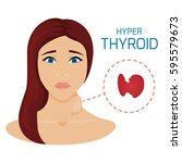 woman with hyperthyroid gland.... | Shutterstock . vector #595579673