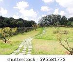 park stone steps pond sky | Shutterstock . vector #595581773