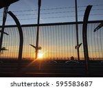sunset in city | Shutterstock . vector #595583687