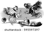 two cocks facing each other in... | Shutterstock .eps vector #595597397