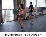fitness cardio warm up with... | Shutterstock . vector #595609667