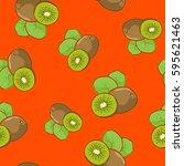 seamless pattern of kiwifruit   ... | Shutterstock .eps vector #595621463