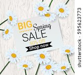 big spring sale background with ... | Shutterstock .eps vector #595623773