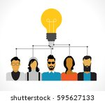 icons of people with bulb.... | Shutterstock .eps vector #595627133