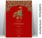 indian invitation card... | Shutterstock .eps vector #595628693