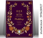wedding invitation card... | Shutterstock .eps vector #595628927