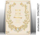 wedding invitation card... | Shutterstock .eps vector #595629017