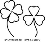 clover with four and three... | Shutterstock .eps vector #595631897