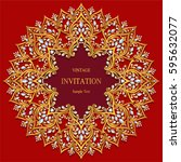 invitation card templates with... | Shutterstock .eps vector #595632077
