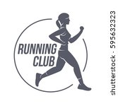 running club logo templates.... | Shutterstock .eps vector #595632323
