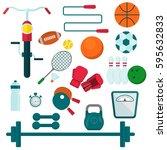 set of sporting goods.  | Shutterstock .eps vector #595632833