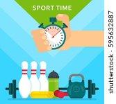 sport time concept poster.  | Shutterstock .eps vector #595632887