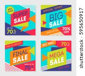 set of colorful trendy sale... | Shutterstock .eps vector #595650917