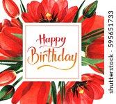 wildflower tulip flower frame... | Shutterstock . vector #595651733