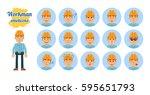 big set of workman emoticons.... | Shutterstock .eps vector #595651793